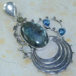 Silver Labradorite, Blue Topaz, Moonstone PendantNWT, used for sale